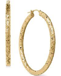 Macy's - Diamond-cut Hoop Earrings In 14k Gold - Lyst