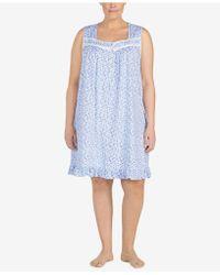 Eileen West - Plus Size Ruffle-hem Cotton Knit Nightgown - Lyst