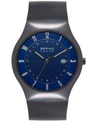 Bering Solar Powered Black Stainless Steel Mesh Bracelet Watch 40mm