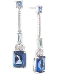 Carolee - Silver-tone Crystal Linear Drop Earrings - Lyst