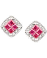 Macy's Ruby (5/8 Ct. T.w.) & Diamond (1/20 Ct. T.w.) Square Stud Earrings In Sterling Silver - White