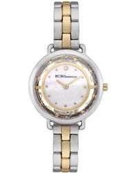 BCBGeneration 2 Hands Slim Two Tone Stainless Steel Band Watch 34mm - Metallic
