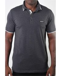 Members Only Basic Short Sleeve Snap Button Polo - Gray