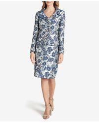 Tahari Printed Skirt Suit - Blue