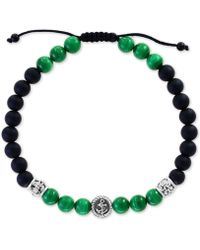 Effy Collection - Malachite (6mm) & Onyx (6 & 3mm) Nylon Cord Bolo Bracelet In Sterling Silver - Lyst