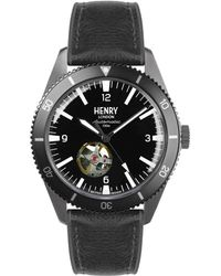 Henry London Sports Automatic Gun Metal Case Black Automatic Dial Black Silicone Strap
