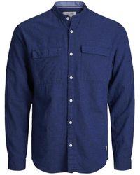 Jack & Jones High Summer Long Sleeved Mandarin Collar Shirt - Blue
