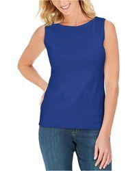 Karen Scott Cotton Scoop-neck Top, Created For Macy's - Blue
