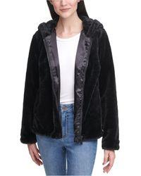 Calvin Klein Hooded Faux-fur Zip-front Jacket - Black