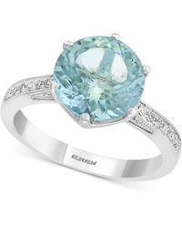 Effy Collection Effy® Aquamarine (3-1/3 Ct .t.w.) & Diamond (1/6 Ct. T.w.) Ring In 18k White Gold - Metallic