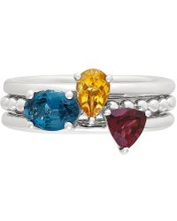Macy's - 3-pc. Set Multi-gemstone Stacking Rings (1-3/4 Ct. T.w.) In Sterling Silver - Lyst