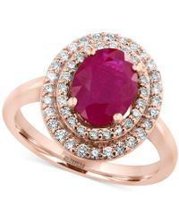 Effy Collection - Certified Ruby (1-9/10 Ct. T.w.) And Diamond (3/8 Ct. T.w.) Ring In 14k Rose Gold - Lyst