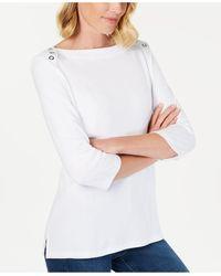 Karen Scott 3/4-sleeve Top, Created For Macy's - White