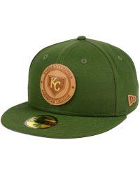 huge discount 85021 bec4d ... store ktz kansas city royals vintage olive 59fifty fitted cap lyst  0d563 3f621