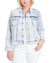 Jessica Simpson Trendy Plus Size Peony Printed Denim Jacket - Blue