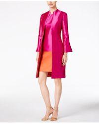 B Michael Bell-sleeve Topper Evening Jacket - Pink