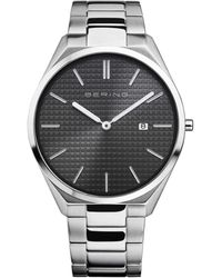 Bering Ultra Slim Silver-tone Stainless Steel Bracelet Watch 40mm - Metallic