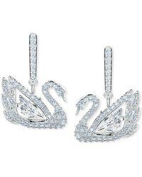 Swarovski Silver-tone Pavé & Dancing Stone Swan Drop Earrings - Metallic