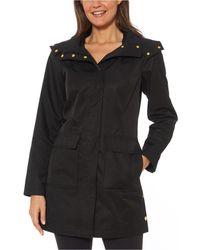 Jones New York Hooded Snap-collar Water-resistant Raincoat - Black