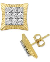 Macy's Diamond Square Cluster Stud Earrings (1/4 Ct. T.w.) In 18k Gold-plated Sterling Silver - Metallic