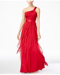 Adrianna Papell - One-shoulder Tiered Chiffon Gown - Lyst