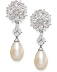 Arabella - Cultured Freshwater Pearl And Swarovski Zirconia Drop Earrings In Sterling Silver (8mm) - Lyst