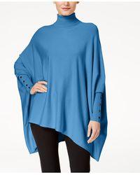 Alfani Petite Turtleneck Poncho Sweater, Created For Macy's - Blue