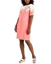 Karen Scott Country Bloom Dress Mixed-print Dress, Created For Macy's - Pink