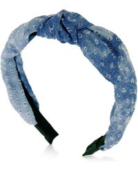 Guess - Denim Knotted Headband - Lyst