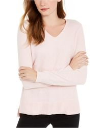Maison Jules Metallic V-neck Sweater, Created For Macy's - Pink