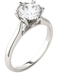 Charles & Colvard Moissanite Solitaire Engagement Ring 1-1/2 Ct. T.w. Diamond Equivalent In 14k White Gold - Metallic