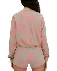ELEVEN PARIS Cotton Cropped Geometric-print Graphic Top - Pink
