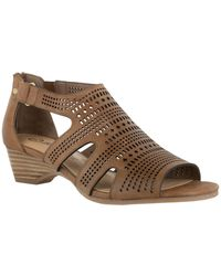 Bella Vita Quinby Wedge Sandals - Brown