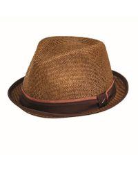 San Diego Hat Company Porkpie With Stripe Grosgrain - Brown