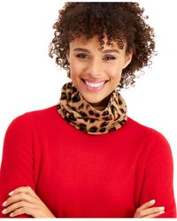 Charter Club Cashmere Cheetah Gaiter Facemask, Created For Macy's - Red