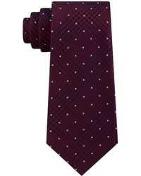 Michael Kors Dotted Glen-check Silk Tie - Purple