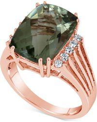 Macy's - Green Quartz (7 Ct. T.w.) & Diamond (1/5 Ct. T.w.) Ring In 14k Rose Gold - Lyst