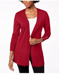 Charter Club Open-front Cardigan, Created For Macy's - Red