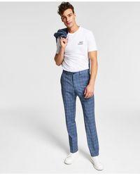 Armani Exchange Slim-fit Plid Suit Pnts - Blue