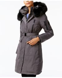 Vince Camuto - Faux-fur-trim Belted Coat - Lyst