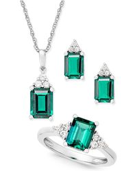 Macy's - Lab-created Emerald (4 Ct. T.w.) And White Sapphire (3/8 Ct. T.w.) Jewelry Set In Sterling Silver - Lyst