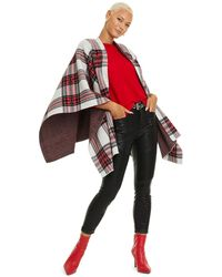 Charter Club Tartan Plaid Cashmere Cape, Created For Macy's - Red