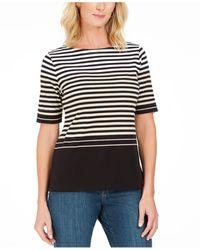 Karen Scott Petite Striped Boat-neck Top, Created For Macy's - Multicolour