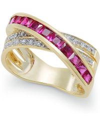 Macy's - Ruby (1-1/3 Ct. T.w.) And Diamond (1/8 Ct. T.w.) Crisscross Ring In 14k Gold - Lyst