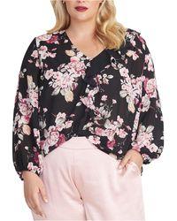 RACHEL Rachel Roy Trendy Plus Size Layla Floral-print Top - Black