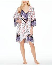 Linea Donatella Mixed-print Wrap Robe - White