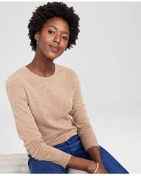 Charter Club Crew-neck Cashmere Sweater, In Regular And Petites, Created For Macy's - Natural