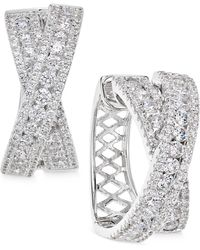 Arabella - Swarovski Zirconia Crisscross Hoop Earrings In Sterling Silver - Lyst