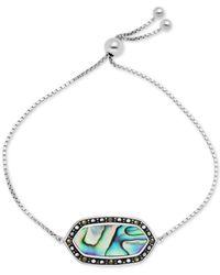 Macy's - Genuine Swarovski Marcasite Onyx Shapely Stone Slider Bracelet In Fine Silver-plate Also In Paua Shell - Lyst