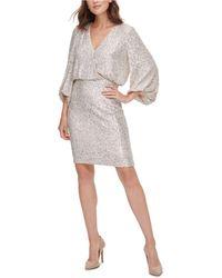 Eliza J Sequined Blouson Shift Dress - Metallic